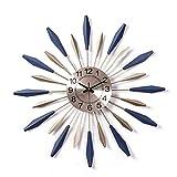 DIEFMJ Reloj de pared con diseño de estrellas de metal 3D, reloj de pared, silencioso, no se hace tictac, moderno de cuarzo, reloj de pared, gran sala de estar, oro azul, 60 cm