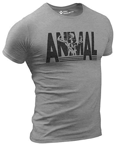 PF0001U Maglia Palestra Uomo Animal - t-Shirt Allenamento - Maglietta Crossfit - Bodybuilding - Calisthenics Fitness Idea Regalo Sportivo (Grigio Melange, S)