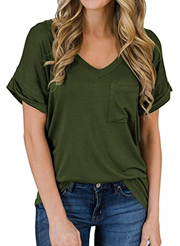 MIHOLL Women's Short Sleeve V-Neck Shirts Loose Casual Tee T-Shirt (Army Green, Large)