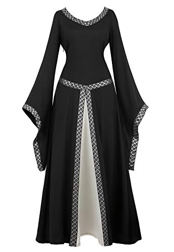 Womens Irish Medieval Dress Renaissance Costume Retro Gown Cosplay Costumes Fancy Long Dress Black-S