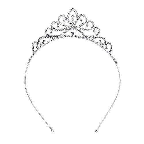 OUFO Crystal Tiara for Girls Sliver Flower Rhinestone Crowns Royal Hair Jewelry Decor Vintage Wedding Tiaras Princess Headband Birthday
