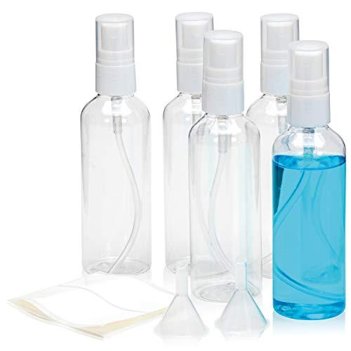 Sprühflasche 5 x 100 ml versprüht feinen Nebel. Zerstäuber für Desinfektionsmittel für Haut, Hand, Fläche & Instrument. Die Sprayflasche ist ebenfalls für Parfüm, geeignet. (100 ml)