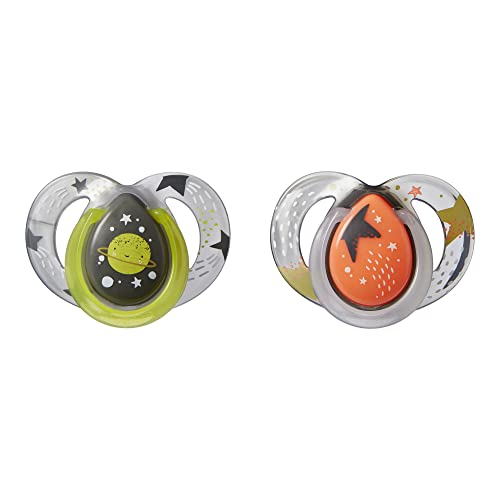 Tommee Tippee Chupete Nocturno Fluorescente, Diseño Simétrico y Ortodóntico, Silicona Sin BPA, 0 a 6 Meses, 2 Unidades