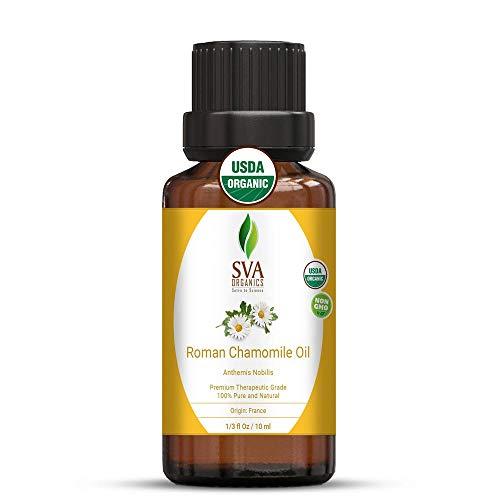 Sva Organics Roman Chamomile Oil (1/3 Oz) 10 Ml Organic Usda Certified 100% Pure Natural Therapeutic Grade Oil For Skin Care, Hair Care, Massage &Amp; Aromatherapy