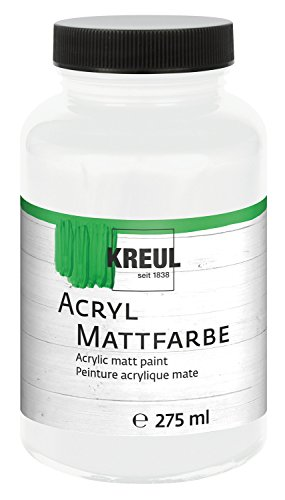 Kreul 75001 - Acryl Mattfarbe, cremig deckende, schnelltrocknende Farbe auf Wasserbasis, für viele verschiedene Untergründe geeignet, 275 ml Kunststoffglas, weiß