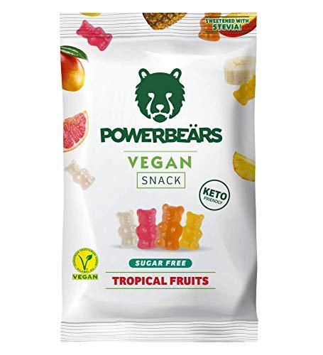 Powerbeärs Vegan Sugarfree - Vegane Gummibärchen ohne Zucker, 16er Pack (16 x 50g Beutel)