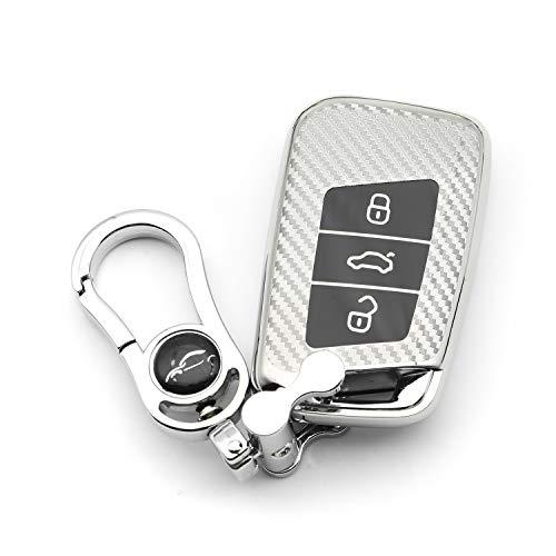 M.JVisun Soft Carbon Fiber Finish Car Key Fob Cover for Volkswagen Arteon Atlas Golf Alltrack Jetta Passat Tiguan for Skoda Kodiaq Superb A7 Electroplated TPU Case with Metal Keychain - Silver