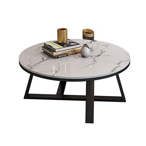 YHshop Comodini Tavolino da caffè in Marmo Semplice Moderno Nordico Piccolo Appartamento Soggiorno Rotondo tavolino tavolino tavolino in Bianco e Nero Oro Tavolo Occasionale (Color : A)
