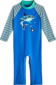 Coolibar UPF 50+ Baby Beach One-Piece Swimsuit - Sun Protective  3T- Marlin Blue Geo Fish