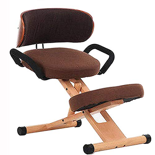 AFTIU Verstellbarer Kniestuhl im Büro, Ergonomischer Professioneller Kneeling Chair mit Rückenstütze für eine gesunde Rücken- und Aufrechte Haltung - für Zuhause/Meditation,Braun