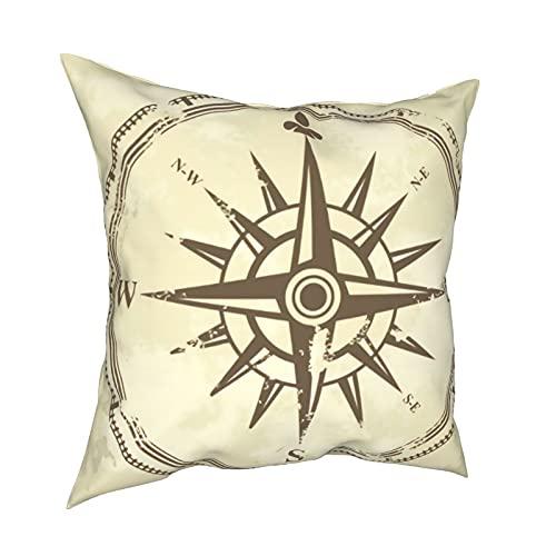 mengmeng Fundas de almohada decorativas de 30,5 x 30,5 cm, diseño de brújula vintage