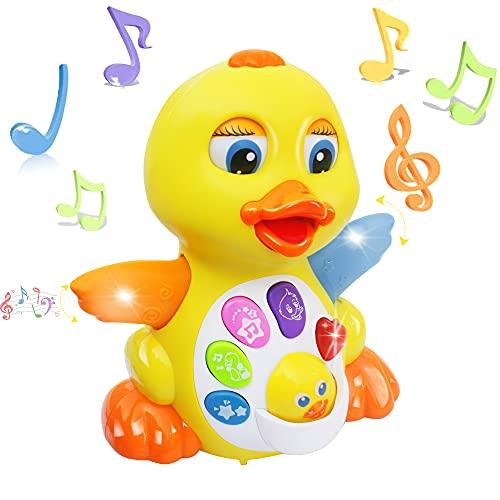 MOONTOY Pato de Juguete para Bailar y Cantar, Juguetes educativos Musicales para niña o niño, Juguete Interactivo para bebés con luz y Sonido, Regalo para niños pequeños, bebés de 1,2,3 años o más