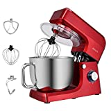 ROVSUN 7.5 Quart Stand Mixer, 6-Speed 660W Electric Tilt-Head Kitchen Food Mixer with Stainless Steel Bowl, Dough Hook, Beater, Whisk (Red)
