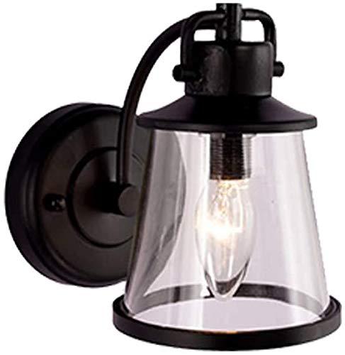 FSLIVING Lámpara de pared de estilo vintage, cristal transparente, pantalla de lámpara IP54, con cableado fijo, casquillo E27, lámpara de pared interior / exterior, lámpara de pared para porche