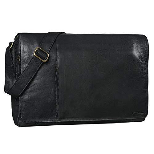 STILORD 'Maximus' XXL Ledertasche riesige Umhängetasche Unitasche 17 18 19 21 Zoll Laptop Aktentasche Bürotasche Büffel Leder, Farbe:schwarz