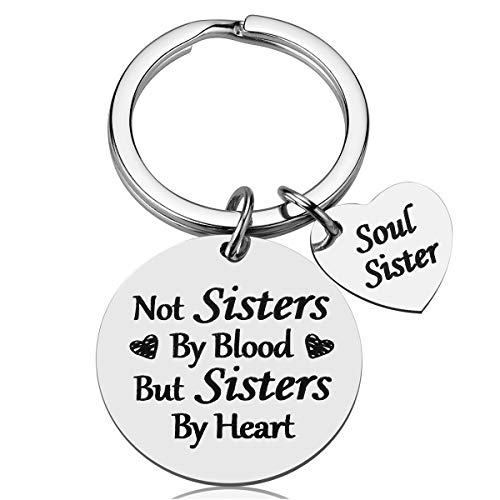 Friendship Gifts for Women Sister - Not Sister By Blood But Sisters By Heart Keychain, Birthday Gifts for Best Friend BFF Jewelry