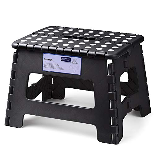 HOUSE DAY Taburete Plegable de Ligero 22cm Negro plástico Antideslizantes para niños la Cocina Taburete de baño