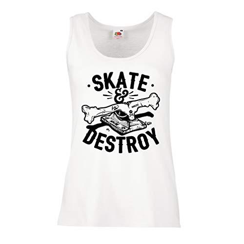 lepni.me Serbatoio,Maglietta Senza Maniche Femminile Skate And Destroy, Regalo per Skater, Amanti dello Skateboard (X-Large Bianco Multicolore)
