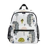 Kinder Fashion Schulrucksack Cartoon Igel Muster Kinder Hohe Qualität Casual Tagesrucksack Leichter Canvas Rucksack für 3–8 Jahre alte Kleinkinder 25,4 x 10,2 x 30,5 cm
