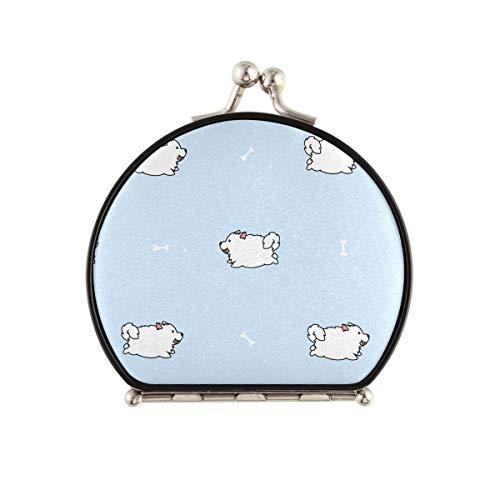 Espejo de maquillaje de viaje para mujer, bonito Samoyed Dog Running Espejo compacto de doble cara, espejo de mano con aumento 2x y 1x para bolso de bolsillo, viaje