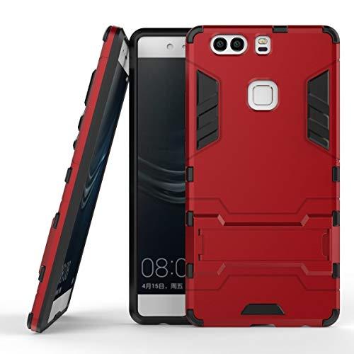 Funda Huawei P9 Plus, MHHQ 2in1 Armadura Combinación A Prueba de Choques Heavy Duty Escudo Cáscara Dura PC + Suave TPU Silicona Rubber Case Cover con soporte para Huawei P9 Plus -Red