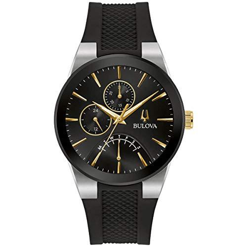 Bulova 98C138 Men's Futuro Black Dial Silicone Strap Watch