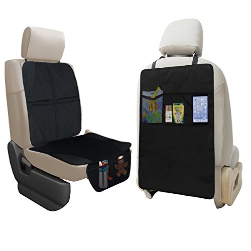 lebogner Car Seat Protector + Kick Mat Auto Seat Back Protector with 3 Organizer Pockets, Durable Quality Seat Covers + Waterproof Kick Guards to Protect Your Leather and Upholstery Seats from Damage