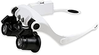 Skycoolwin Double Eye Watch Repair Magnifier Loupe Jeweler Magnifying Glasses Tool Set with LED Light 10X 15X 20X 25X