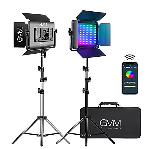 GVM RGB LED Video Light with Lighting Kits, 680RS 50W Led Panel Light with Bluetooth Control, 2 Packs Photography Lighting for YouTube Studio, Video Shooting, Gaming, Streaming, Conference