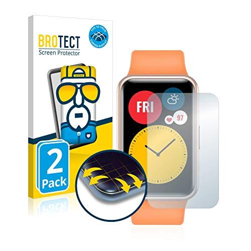 BROTECT Full-Cover Schutzfolie kompatibel mit Huawei Watch Fit (2 Stück) - Full-Screen Displayschutz-Folie, 3D Curved, Kristall-Klar