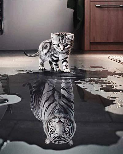 WONZOM Pintura por Números DIY Pintura acrílica Kit para Adultos Y Niños Principiantes - 16 * 20 Pulgadas Gato y Tigre con 3 Pinceles y Colores Brillantes