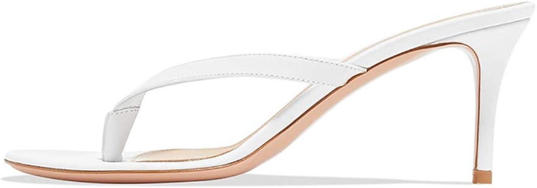 damen Sommer Clip Toe Heeled Hausschuhe, einfache einfache Slip On Sandalen Pfennigabsatz Flip Flops Schuhe,Weiß,35