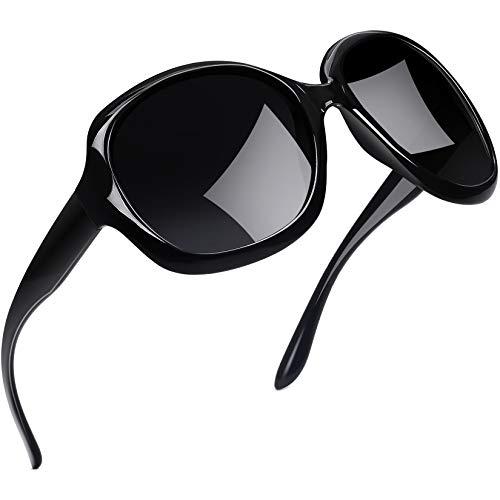 Joopin Vintage Grandi Occhiali da Sole Donna Polarizzati Moda Oversize UV400 Protezione Lente (Moda Nero)