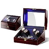 Devanadera De Reloj De Madera De Lujo para Relojes Automáticos Caja De Exhibición De Almacenamiento 4 + 6 con Luces LED Reloj De Látex con Memoria Almohada Silenciosa,B