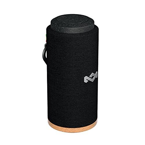 House of Marley Bluetooth-Lautsprecher Wasserdicht & Staubdicht nach IP67 zertifiziert 'No Bounds Sport' - Bluetooth Box mit perfektem Sound - 12Std Akku ohne Kabel, Schnellladung, Mikrofon -Schwarz
