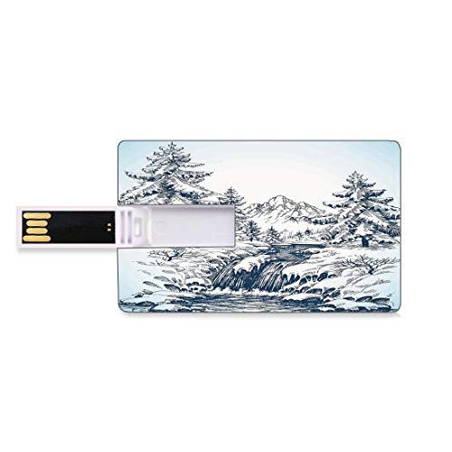 8GB Unidades Flash USB Flash Invierno Forma de Tarjeta de crédito bancaria Clave Comercial U Disco de Almacenamiento Memory Stick Nieve Invierno Paisaje Bosque de pinos y un río Que Fluye en Las Mont