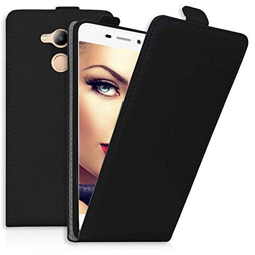 mtb more energy® Flip-Hülle Tasche für Huawei Honor 6C Pro (5.2'') - Schwarz - Kunstleder - Schutz-Tasche Cover Hülle