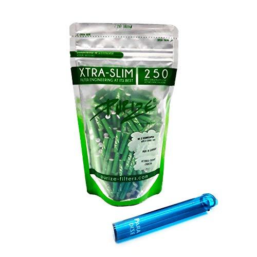 PURIZE 250 Stück Xtra Slim Size Aktivkohlefilter 6mm 2 Keramikkappen, Farbe wählbar + Joint Tube (Grün)