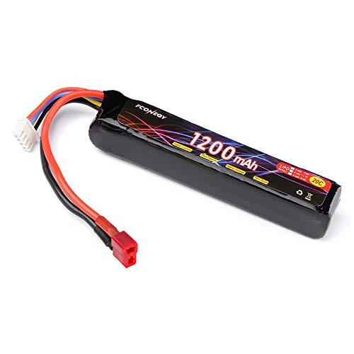 FCONEGY Softair Akku 11.1V 1200mAh 3S 20C Stick Pack Lipo Batterie mit Deans T Stecker für Airsoft Waffen Gun Pistole