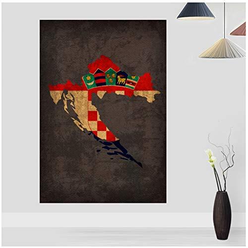 Land Vlag Kaarten Poster Vintage Kroatië Land Vlag Kaart Doek Home Decor Wall Art Decor-50x80cm Geen Frame