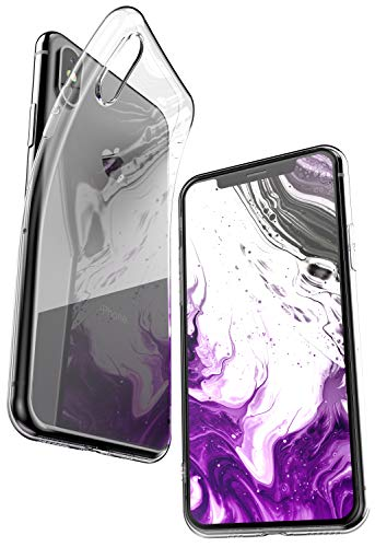 COVERbasics Cover iPhone XS (AIRGEL 0.3mm) Custodia Silicone Trasparente Gel Gomma TPU Flessibile Sottile Fina Slim con Bordo Protezione Proteggi Fotocamera Compatibile con Apple iPhone XS 10s