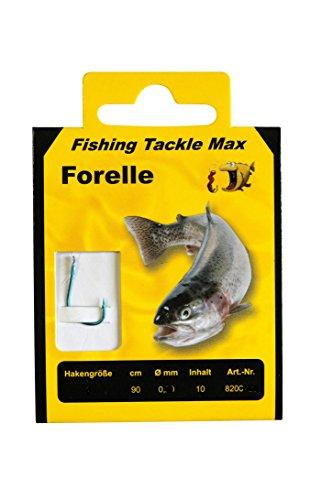 FTM Haken gebunden Forelle 90cm - 10 Forellenhaken, Vorfächer zum Forellenangeln, Vorfachhaken für Forellen, Angelhaken, Hakengröße/Schnurdurchmesser:Gr. 8 / 0.18mm