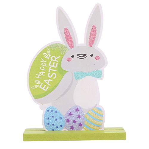 ifundom Estatuilla de Madera de Conejo de Pascua Tabla Signo Primavera Conejito Mesa Centro DE Mesa Decoración de Fiesta de Pascua para La Oficina en Casa