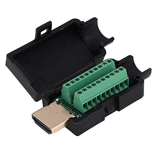 SUNTAOWAN HD SolDADINS Head HDMI Male 19p Plug Breakout Terminales Conector sin Soldadura con Tapa Negra Terminal de Transferencia