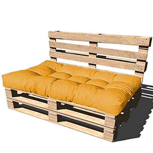 Cuscino per Bancale 120x80x15 cm - Cuscino per Seduta Divano Pallet di legno - COLORE GIALLO ARANCIATO