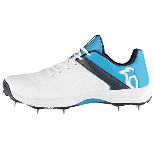 Kookaburra Rampage 500 Cricket Shoes Juniors White/Blue Spikes Trainers Footwear (UK3) (EU36)