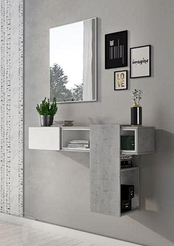 Arredocasagmb.it Mobile Contenitore Ingresso PLAY CEMENTO Grigio TOMASUCCI Specchio Vani a Giorno