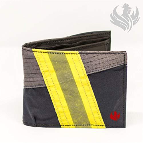 Roter Hahn 112 Feuerwehr Geldbörse/Navy-M/Portemonnaie Geldtasche Portjuchhe Brieftasche Geldbeutel / 125 x 95 x 20 mm/Original gebrauchter Feuerwehrkleidung