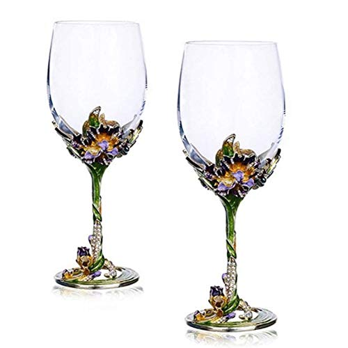 SOAR Botellero Conjunto de Gafas de Whisky de 2 Copas de Vino de Cristal de Cristal de Cristal Rojo - 350ml-perfecto para Aniversario y Boda, Regalos de Vino (Color : A)