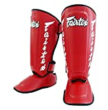 Espinilleras Fairtex SP7 Twister para boxeo, Muay Thai, MMA; desmontables, color SP7 - Red, tamaño X-Large